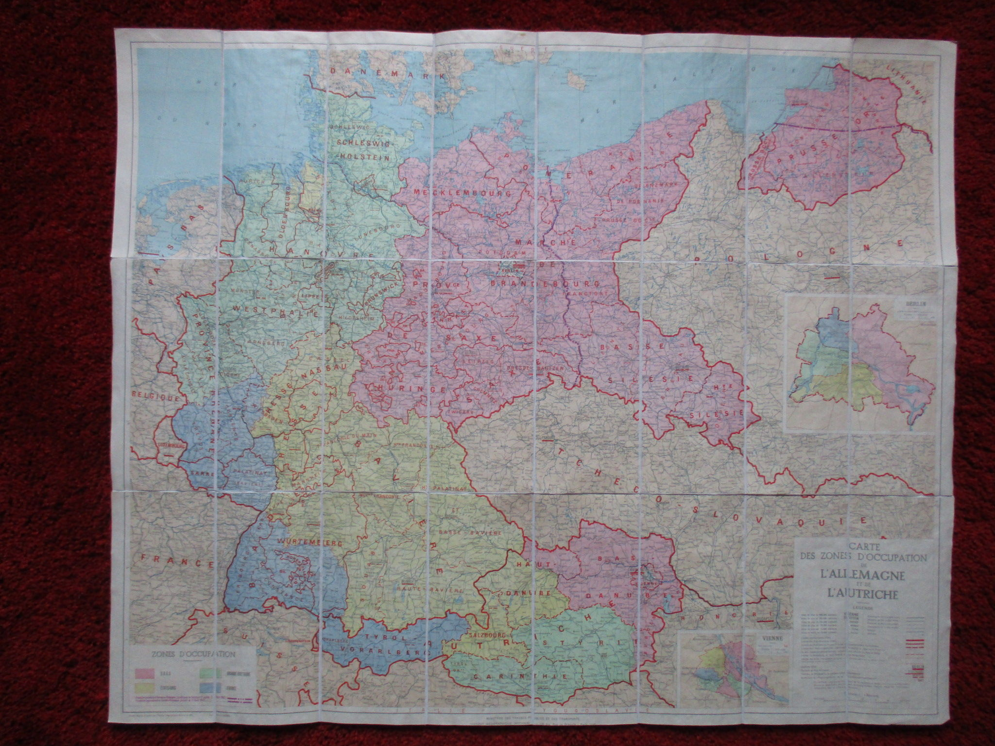 Map Of Germany Occupation Zones.Map Of The Occupation Of Germany And Austria 1945 Carte Des Zones D